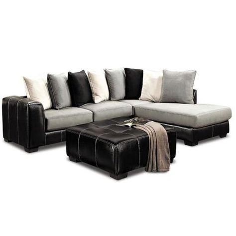 Idol Steel Grey Microfiber With Black Trim Sectional Sofa