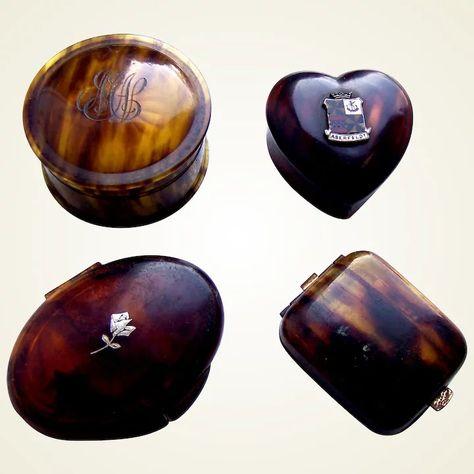 Four faux tortoiseshell vanity items powder compact pill box : The Spanish Comb | Ruby Lane
