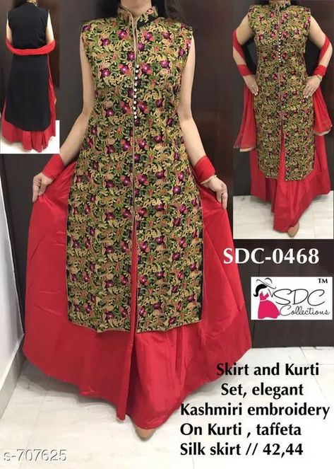 Fancy Designer Party Wear Kurta Set Fabric: Kurti - Georgette, Skirt - Taffeta Silk Sleeves: Sleeves Are Not Included Size: Kurti - L - 42 in, XL - 44 in, Skirt - L - 32 in, XL - 34 in Length: Kurti - Up To 46 in, Skirt - Up To 40 in Type: Stitched Description: It Has 1 Piece Of Kurti & 1 Piece Of Skirt Work/ Pattern: Kurti - Embroidery, Skirt - Solid  For Business WhatsApp +918010630338