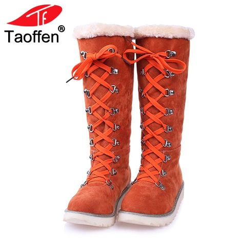78cbb88d462 Taoffen Vintage Women Knee Snow Boots Lace Up Rivet Thick Fur Shoes Women  Winter Flats Boots Plush Warm Women Shoes Size 34-43 Review