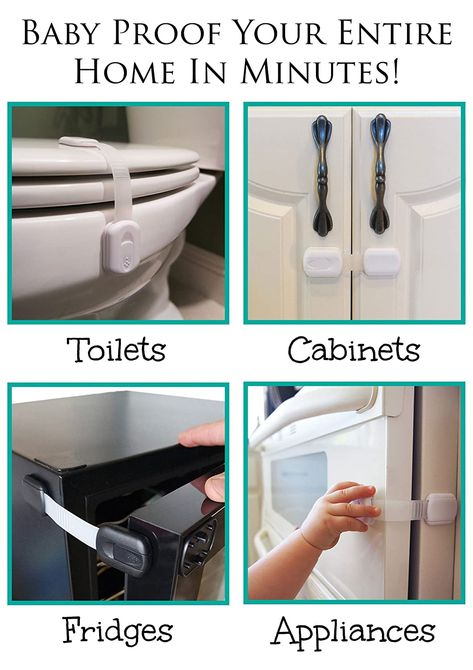 If you're looking for quick tips for baby proofing your house, we have some awesome advice and tricks that'll help keep your new baby safe. (Great baby proofing hack for cabinets here! Toddler Proofing, Baby Proofing Ideas, Baby Proof Cabinets, Child Safety Locks, Baby Safety, Safety Tips, Childproofing, Everything Baby, Baby Hacks