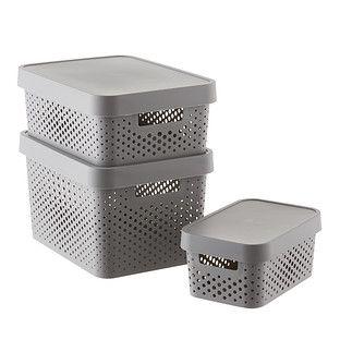 Curver Grey Infinity Plastic Storage Boxes With Lids In 2020 Plastic Box Storage Storage Bins With Lids Plastic Storage