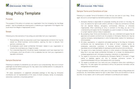 Terms Of Use Policy Template  A Policy Template To Draft The