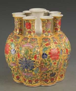 A Large Yellow Glazed Faience Color Cucurbit Vase Antique Vase Vintage Vases Vase