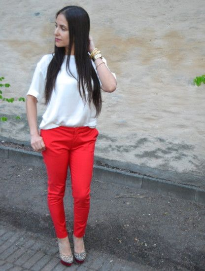 Red pants & Leo pumps by mirely on STYLIGHT