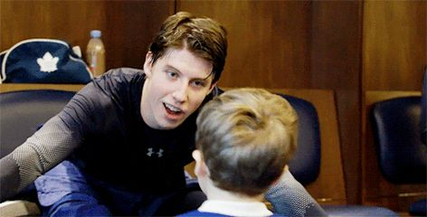 Mitch Marner and one of Patrick Marleau's sons