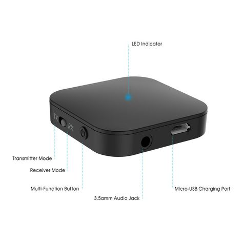 SODIAL Nuevo 2 en 1 Bluetooth V4.2 Receptor transmisor de audio Adaptador de musica de audio