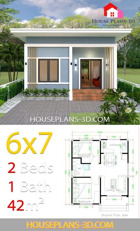 Small House Plans 6x7 With 2 Bedrooms Shed Roof House Plans 3d In 2020 Simple House Design Small House Design Small House Design Plans