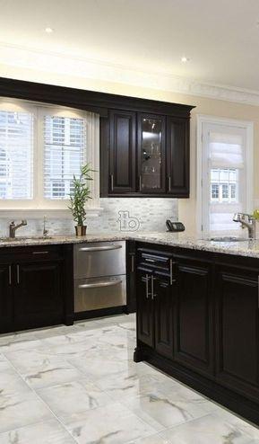Calacatta Gold 18x18 Polished Marble Tile Home Kitchens Kitchen Design Dark Kitchen Cabinets