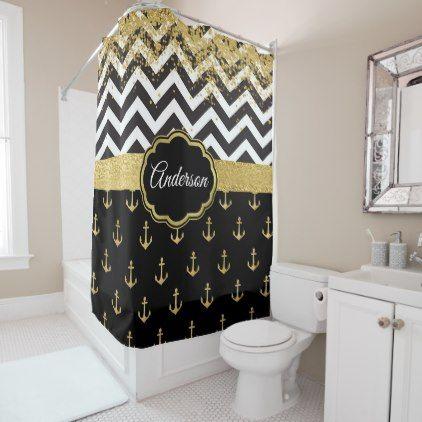 Black White And Gold Nautical Glam Personalized Shower Curtain Zazzle Com Personalized Shower Curtain Nautical Bathrooms Personalized Bathroom