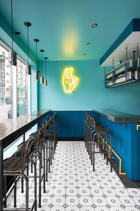 Small and vibrant restaurant Interior in Montreal ...