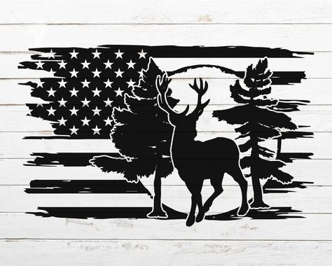 Hunting Decal, Hunting Art, Mountain Silhouette, Deer Silhouette, Stencil Art, Deer Stencil, American Flag Decal, Tree Svg, Silhouette Cameo Projects