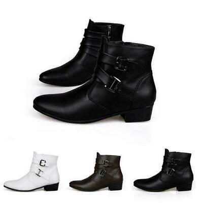 Punk Black Men/'s High Top Ankle Boots Zipper Cuban Heel Pointed Toe Shoes Size