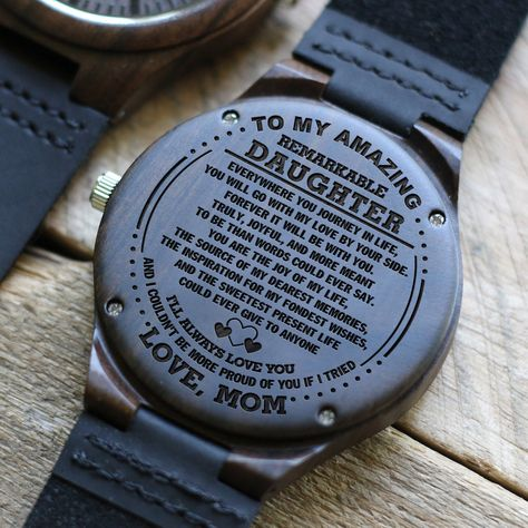 D1631 - The source of my dearest memories - From Mom To Daughter Engraved Wooden Watch