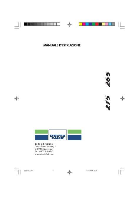 DEUTZ-FAHR AGROTRON 215 265 Italiano User Manual PDF