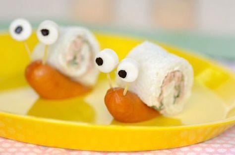 Bocaditos para fiestas infantiles - sandwichs con forma de caracol - comida divertida para niños