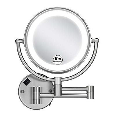 Gloriastar 10x Wall Mounted Makeup Mirror Double Sided Magnifying For 8 5 Inch In 2020 Wall Mounted Makeup Mirror Makeup Mirror Brushed Nickel Mirror