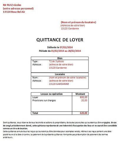 Quittance De Loyer Modele Gratuit Word Sicilfly