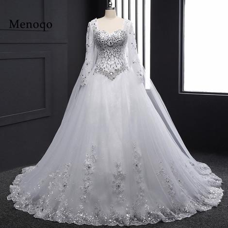 Real Sample 2019 New Bandage Tube Top Crystal Luxury Wedding Dress 2019  Bridal gown wedding dresses Long sleeve DB23002 fc188150eba1