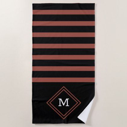 Black Red Pattern Custom Monogram Beach Towel Zazzle Com