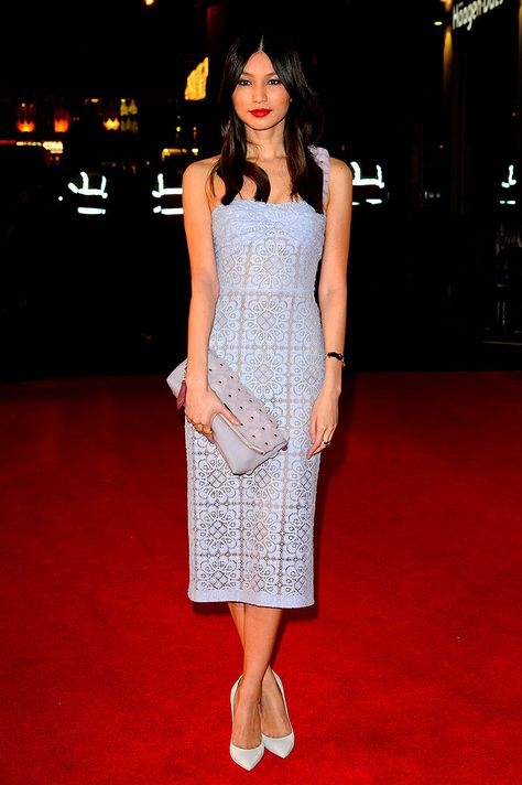 Gemma Chan in Burberry Prorsum SS 2014 at the premiere of the filme 'Jack Ryan: Shadow Recruit in London.