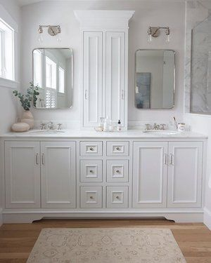 White Master Bathroom With Custom Cabinetry Double Sconces And