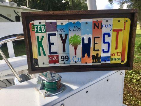 KEY WEST sign license plate sign, beach decor, Florida Keys sign, beach  cottage, margaritaville, island life, tropical, conch-style | Tiki bar  decor, Beach house decor, License plate art