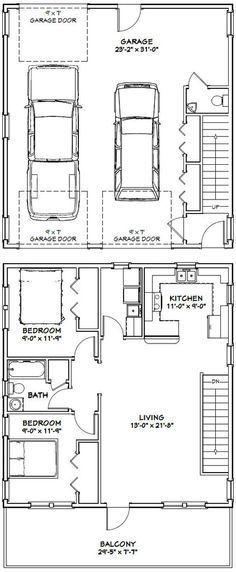 24x28 2 car garage with loft | Garage plans for Farmhouses ...