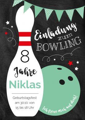 Bowling Zum 8 Geburtstag Tolle Einladungskarte In Schwarz