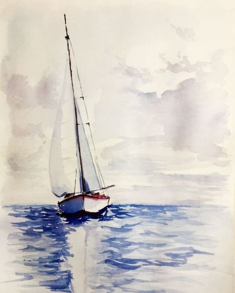Aquarell Boot Auf See Evelyne P Mode Aquarelle Peinture De