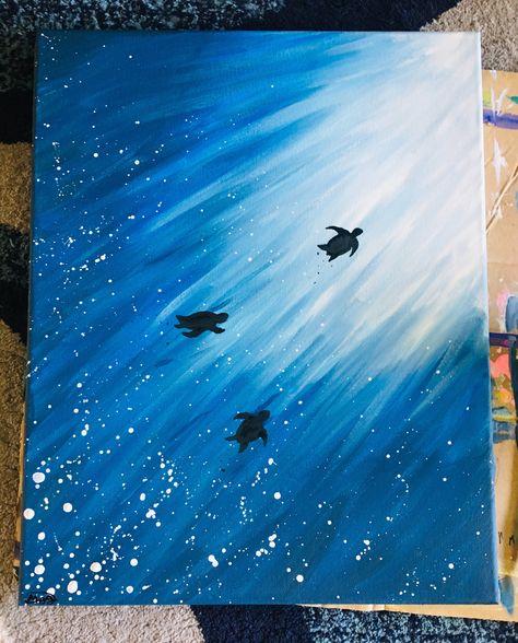Turtle Silhouette - original acrylic on raised canvas Small Canvas Paintings, Easy Canvas Art, Small Canvas Art, Easy Canvas Painting, Cute Paintings, Easy Art, Acrylic Canvas, Simple Acrylic Paintings, Diy Canvas