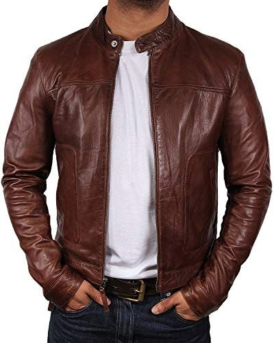 Leather Kraft Mens Lambskin Leather Bomber Biker Black Leather Jacket
