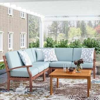 Ansel Outdoor 5 Piece Sectional Seating Group With Cushion Patio Sectional Patio Daybed Patio Sofa