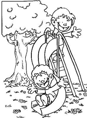 free coloring page kids on slide google search playground safety pinterest - Free Playground Coloring Pages
