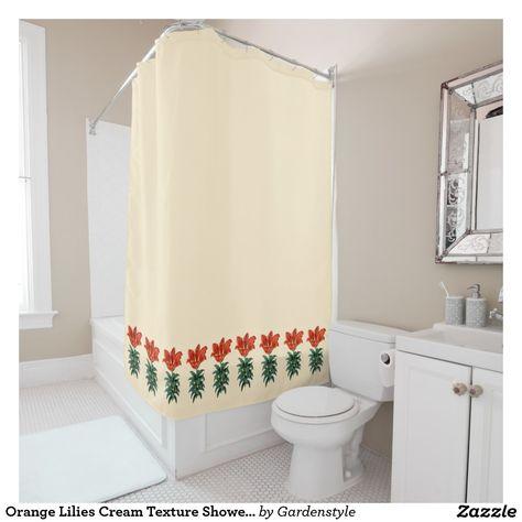 Orange Lilies Cream Texture Shower Curtain Pink Shower Curtains