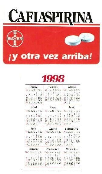 Capricho Argentina 1998 Cafiaspirina Pocket Calendar Haliotis94