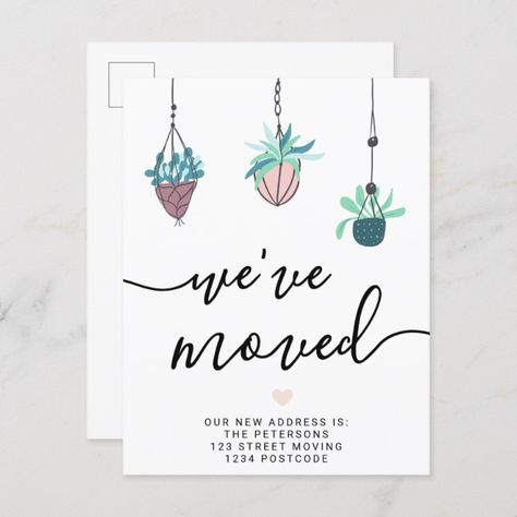 Hanging House Plants Pastel New Home Moving Announcement Postcard Ad Affiliate Home Pastel Moving Announcement Postcard Moving Announcements House Plants