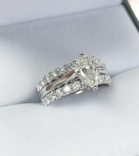 Details About Certified 2 45ct Pear Diamond 3 Piece Engagement