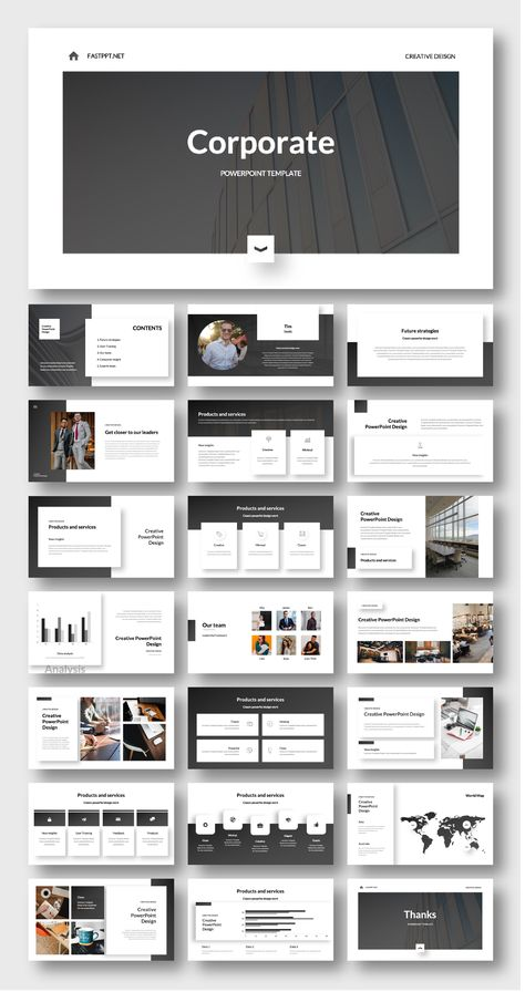 Cool Black Corporate Presentation Design – Original and High Quality PowerPoint Templates