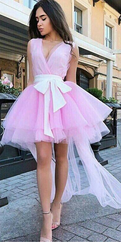 Cute A Line V Neck Short Homecoming Dresses Bowknot OHM014