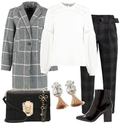 timeless design fddf2 76953 Outfit alla moda, composto da cappotto bianco e nero a ...