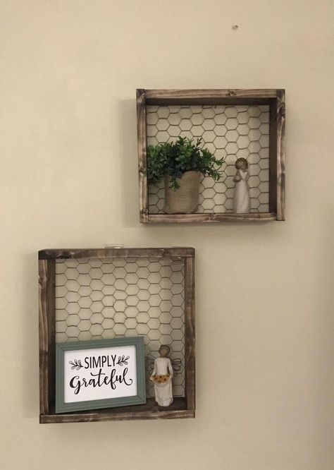 Rustic Wall Shelves, Rustic Walls, Wire Shelves, Wood Shelf, Shelves In Dining Room, Kitchen Wall Shelves, Rustic Wall Decor, Farmhouse Kitchen Decor, Primitive Wall Decor