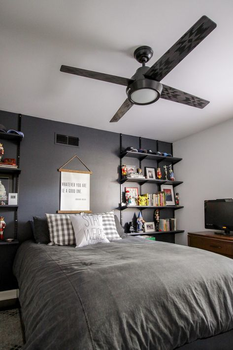 The Perfect Ceiling Fan for a Teen Boy's Bedroom Teen Boys Room Decor, Boys Bedroom Colors, Teen Boy Rooms, Bedroom Setup, Boys Bedroom Decor, Bedroom Ceiling, Room Ideas Bedroom, Bedroom Ideas For Teen Boys, Boy Bedroom Designs