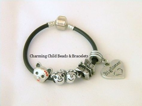 Big Sister Heart Butterfly Cat Child Kids European Black Bracelet 6.5 In 16.5cm…