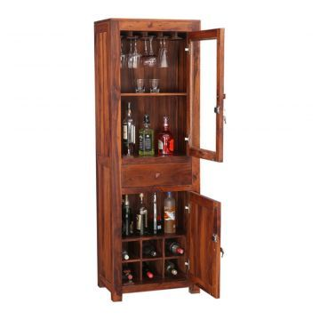 Woodrow Solid Wood Tall Bar Cabinet In Honey Colour Tall Bar Cabinet Bar Cabinet Wood Bar Cabinet