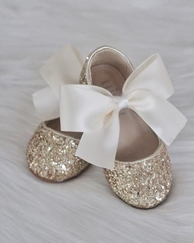 28aaa821abd SILVER Rock Glitter Mary Jane Flats With Satin Bow | Wedding ...