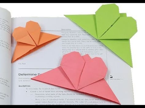 How to make a Simple Heart Shaped Paper Bookmark | Easy Paper Heart Bookmark Origami Crafts for kids