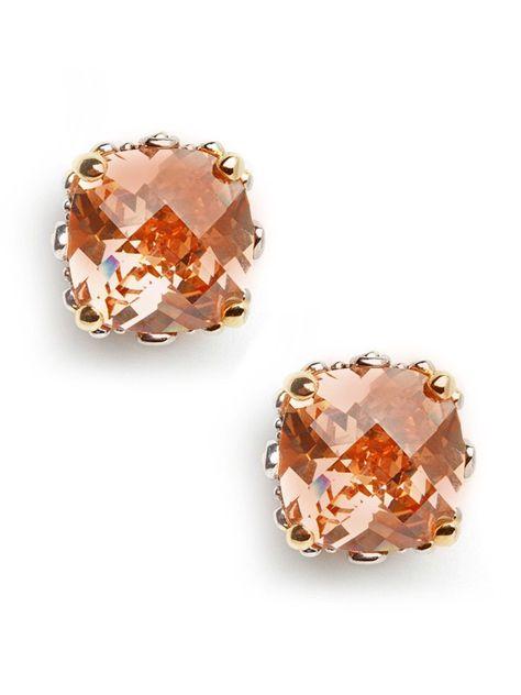 peach colored stud earrings