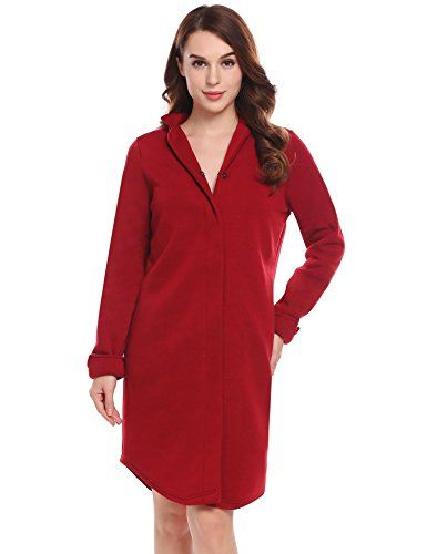 ab0f4f12f8 Dozenla Women s Robe Sleepwear Long Sleeve Nightwear With Pockets ...