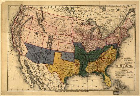 24x36 Vintage Reproduction Civil War Map Secession 1860-1861